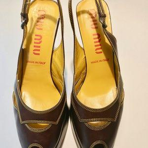 Mui Mui by PRADA Peep-Toe Platform Heels